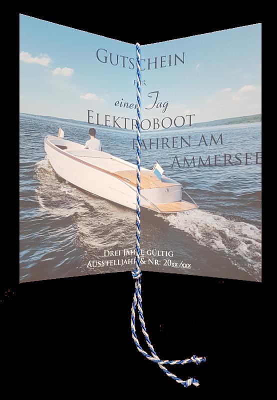 Im offen Gutschein ist je nach verwendungszweck entweder das Segelboot oder E-Boot abgebildet.